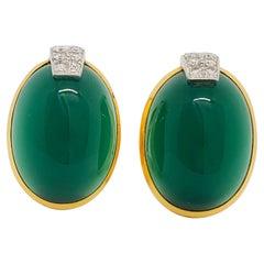 Estate David Webb Diamond and Chrysoprase Clip On Earrings in 18k Yellow Gold