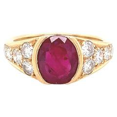 Vintage GIA French 1.85 Carat Ruby Diamond 18 Karat Yellow Gold Ring