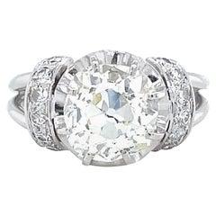 Retro French GIA 2.95 Carat Old Mine Cut Diamond Platinum Engagement Ring