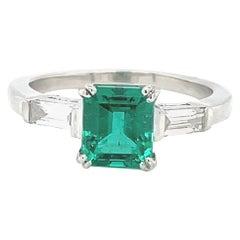 Vintage GIA 1.41 Carat Emerald Diamond Platinum Engagement Ring