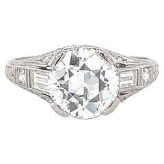 Art Deco GIA 1.81 Carat Old European Cut Diamond Platinum Engagement Ring