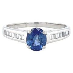 Vintage Sapphire Diamond Platinum Ring