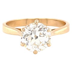 French Art Deco GIA 1.55 Ct Old European Cut Diamond Solitaire Engagement Ring