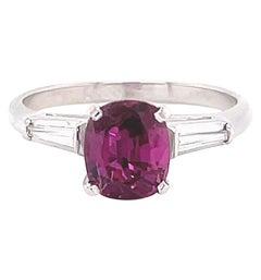 Retro Ruby Diamond Platinum Ring