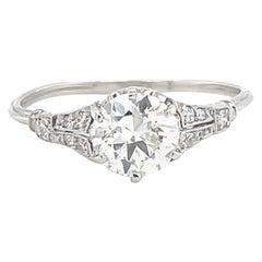 Antique Old European Cut Diamond Platinum Engagement Ring