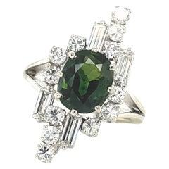 Retro French Green Sapphire Diamond Platinum Ring