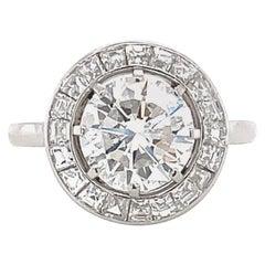 Art Deco GIA 2.15 Carat Round Brilliant Cut Diamond Platinum Halo Ring
