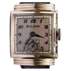 Art Deco 14k Rolled Rose GF Gents Wristwatch, c1940, Bulova, Fully Serviced