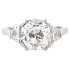 Art Deco French GIA 2.93 Carat Old Mine Cut Diamond Platinum Engagement Ring