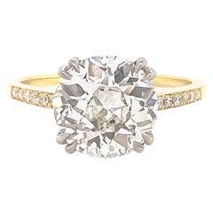 GIA 2.83 Carat Old European Cut Diamond Engagement Ring