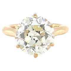 Vintage French GIA 4.28 Carat Old European Cut Diamond Solitaire Engagement Ring