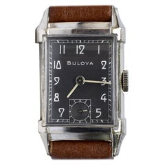 Art Deco Gents White Gold Filled Wrist Watch, Bulova, Fully Serviced, c1948