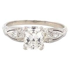 Art Deco GIA 1.04 Carat Diamond Platinum Engagement Ring