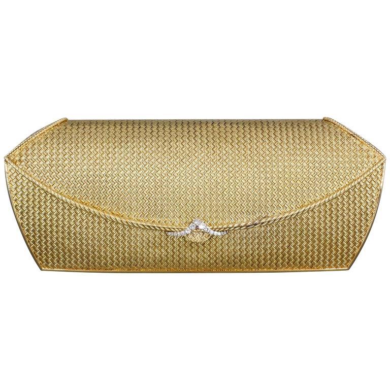 Van Cleef and Arpels Diamond Gold Purse Handbag