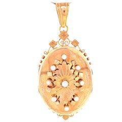 Antique Rose 18 Karat Gold Pearl Locket
