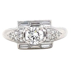 Retro Diamond Platinum Engagement Ring