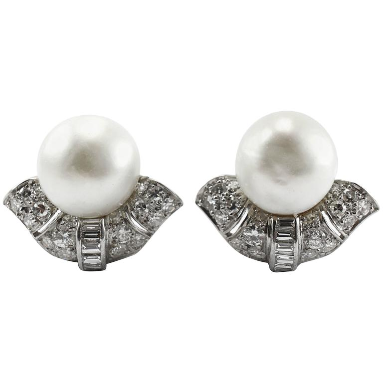 1920s Important Art Deco Natural Pearl Diamond Platinum Earclips