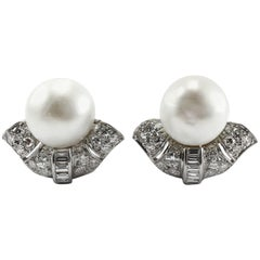 1920s Important Art Deco Natural Pearl Diamond Platinum Clip-on Earrings