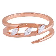 Marquise Diamond 18 Karat Gold Spiral Ring