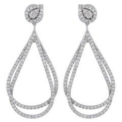 1.80 Carat Diamond 18 Karat Gold Overlap Earrings