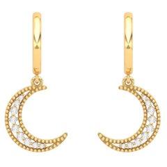 Crescent Diamond 14 Karat Gold Huggie Hoop Earrings