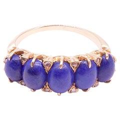 C1910 Edwardian Lapis Lazuli Five Stone Ring
