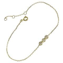 10k 14k 18k Diamond Trio Bracelet Bezel Set Diamond Bracelet
