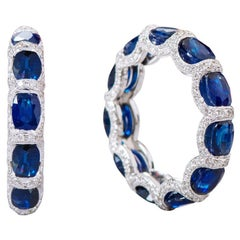 18 Karat White Gold 6.11 Carat Sapphire and Diamond Eternity Band Ring