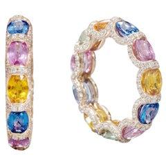 18 Karat Rose Gold 7.61 Carat Multi-Sapphire and Diamond Eternity Band Ring