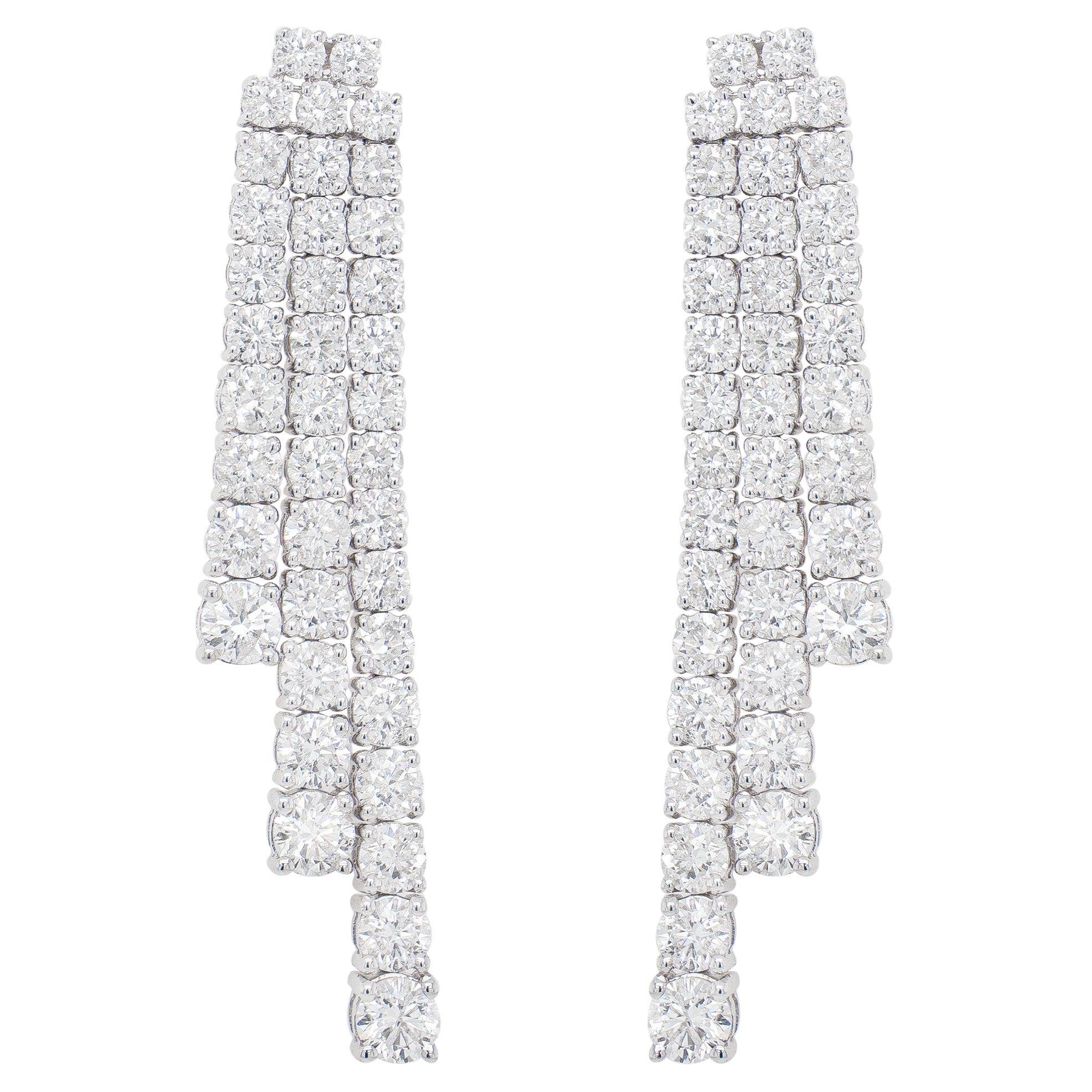 Diamond Dangle Earrings 7.75 Carats 18K White Gold