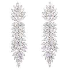 Diamond Dangle Earrings 5.04 Carats 18K White Gold