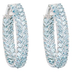 18 Karat White Gold 11.51 Carat Aquamarine and Diamond Hoop Earrings