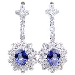 White Gold Tanzanite Diamond Drop Earrings