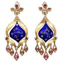 Diamond Ruby Blue Enamel 18 Karat Yellow Gold Dangle Vintage Estate Earrings
