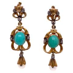 Victorian Turquoise Pearl Rose Cut Diamond Dangle Earrings 18 Karat Yellow Gold