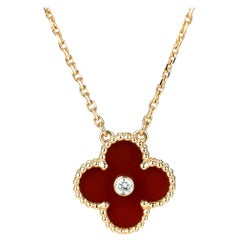 Van Cleef & Arpels Diamond Carnelian Limited Edition Alhambra Rose Gold Necklace