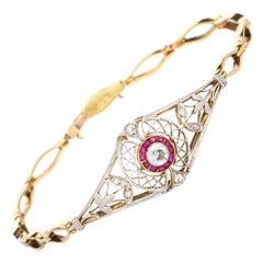 Antique Edwardian Diamond Ruby Bracelet Platinum 14k Gold Vintage Fine Jewelry