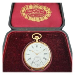 Patek Philippe Chronometro Gondolo 18k Gold Pocket Watch wbox c1910s RA184