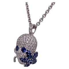 Gucci Flora Diamond Blue Sapphire Skull Pendant Necklace 18KWG Horsebit Clasp