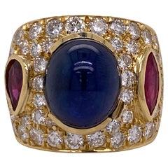 9.50 Carat Natural Blue Sapphire Ruby Diamond 18 Karat Yellow Gold Band Ring