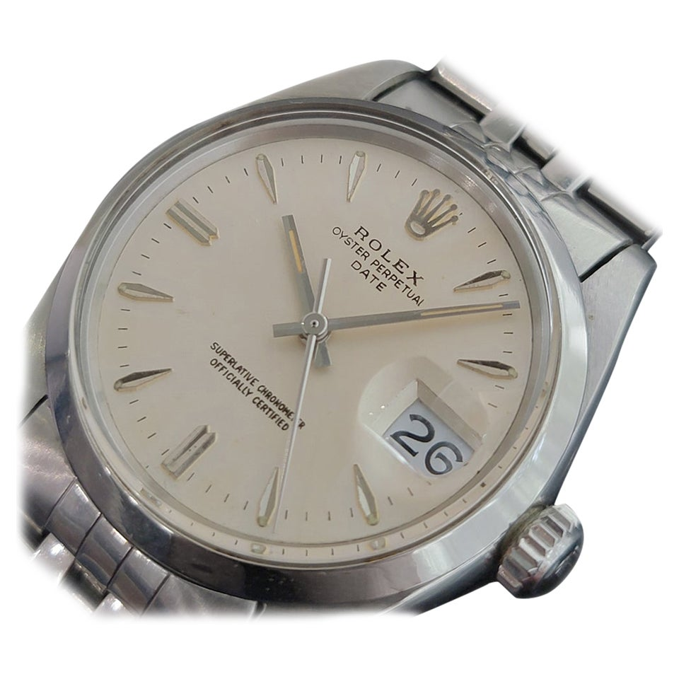 Mens Rolex Oyster Perpetual Date 1500 Automatic 1960s Vintage RA203