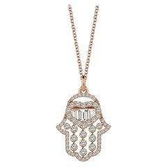 Hamsa Necklace, 18K White Gold .62 Carat Baguette Diamonds Hand of Fatima Charm