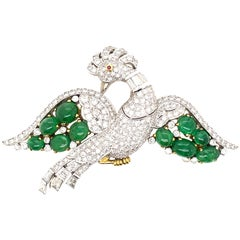 Diamond, Emerald, and Ruby Vintage Bird Brooch White & Yellow Gold