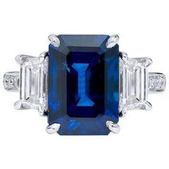 Madagascar Royal Blue Sapphire Diamond Ring Handmade