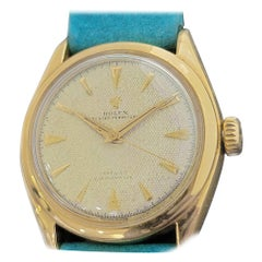 Mens Rolex Oyster Perpetual 6084 18k Gold Bubbleback Automatic 1950s MA227