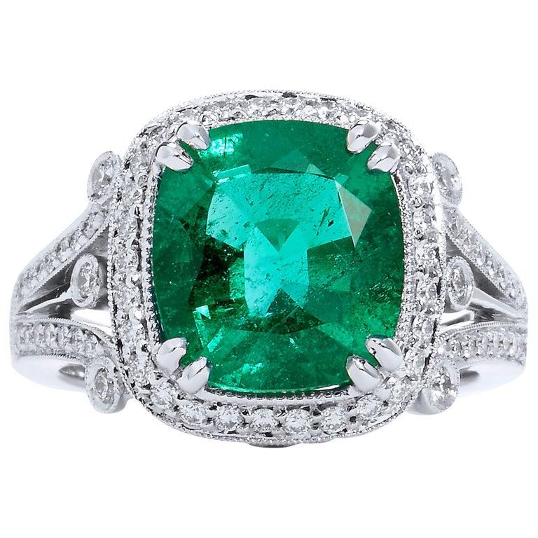 Zambian Cushion Cut Emerald Diamond Ring For Sale