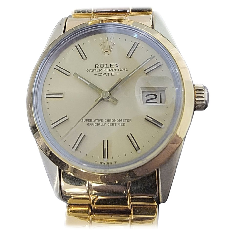 Mens Rolex Oyster Perpetual Date 15505 Gold-Capped Automatic 1980s RA235