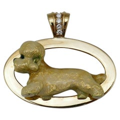 Retro Yellow Gold Enamel Diamond Maltese Dog Pendant