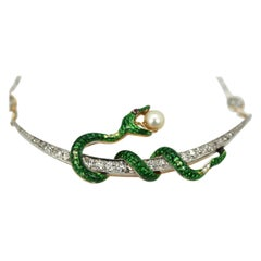 Antique Diamond Crescent Enamel Snake with Pearl on Diamond Chain