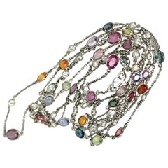 Multi Colored Sapphire Diamond Chain 18K Gold